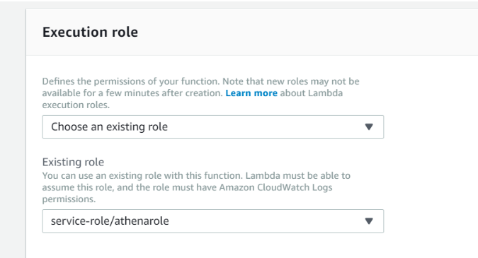 IAM Roles for AWS Lambda Function