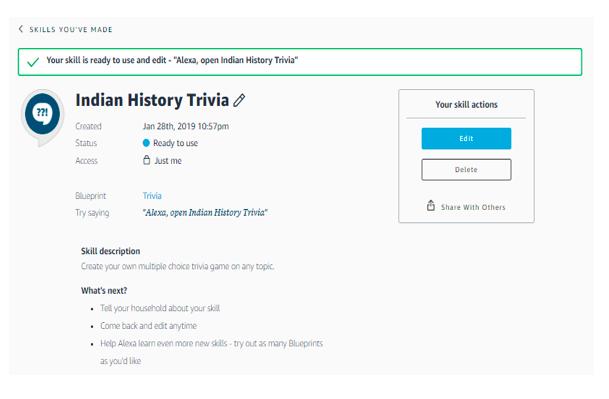 Custom Amazon Alexa Skill