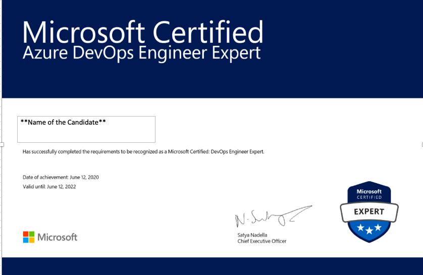 Azure DevOps Engineer Expert Certification