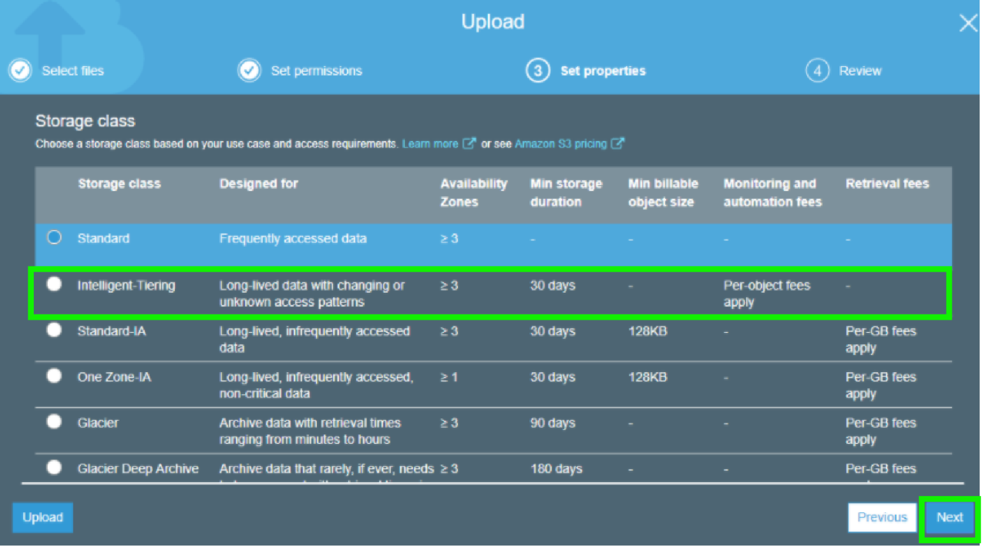 AWS S3 - Storage Class