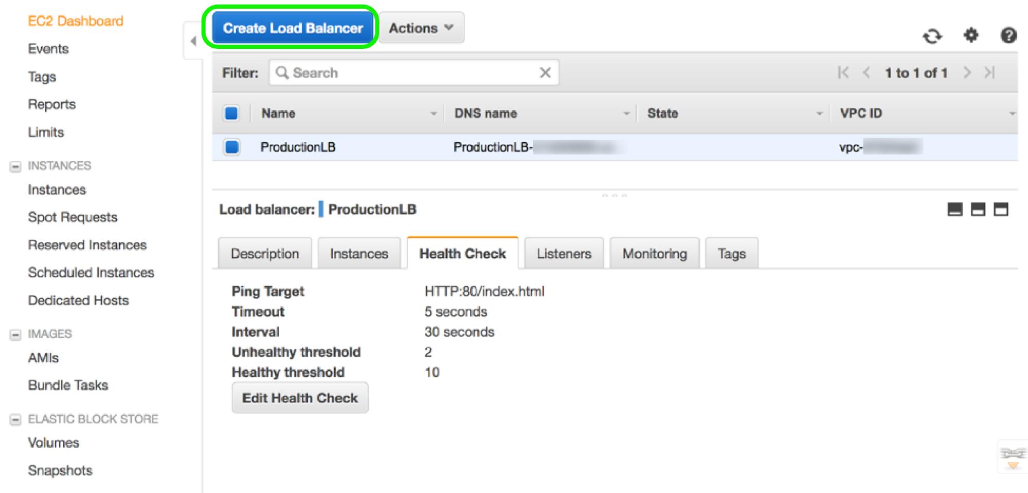 AWS EC2 Dashboard - Create Load Balancer