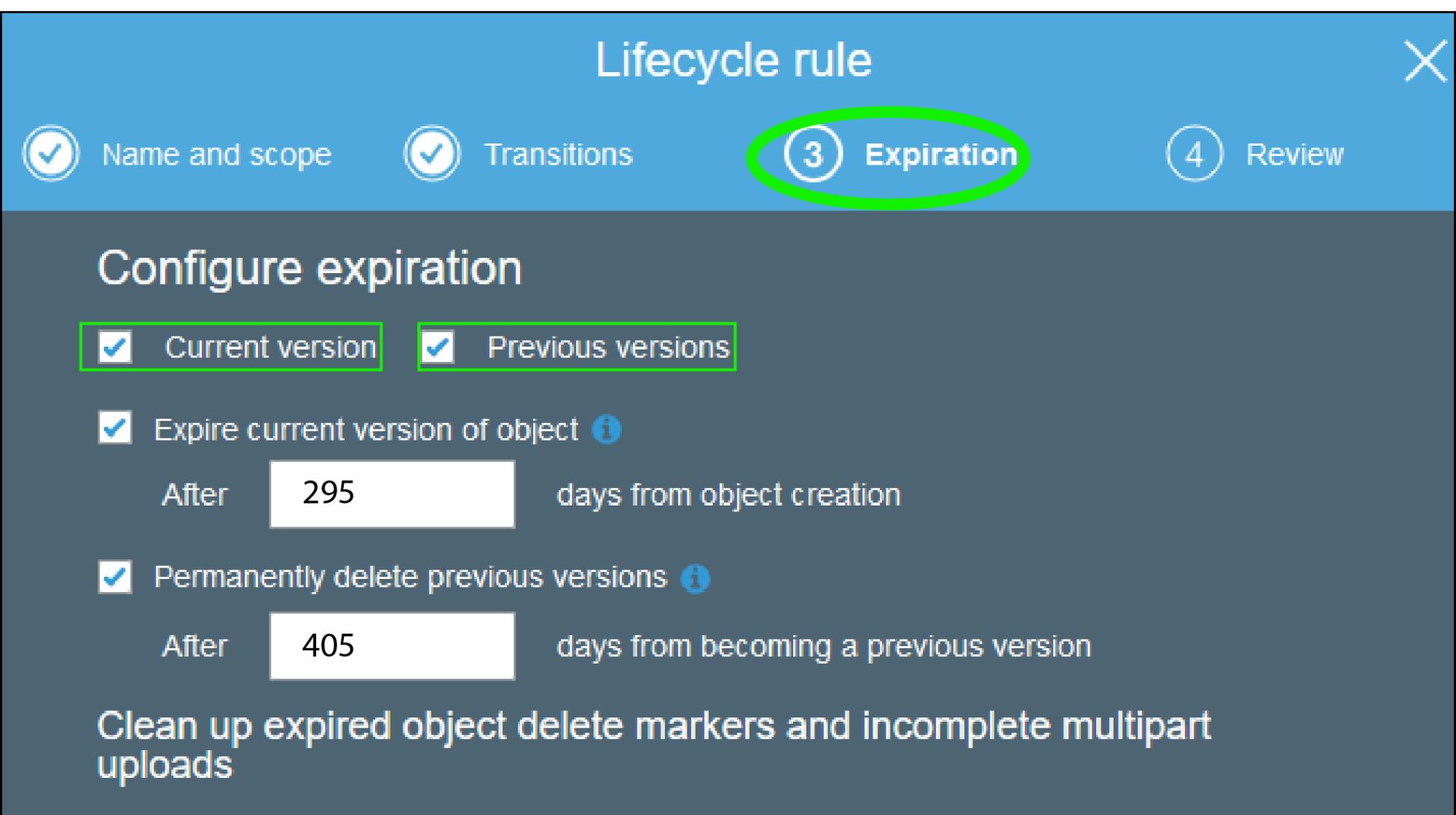 AWS S3 Bucket Lifecycle Rule - Expiration