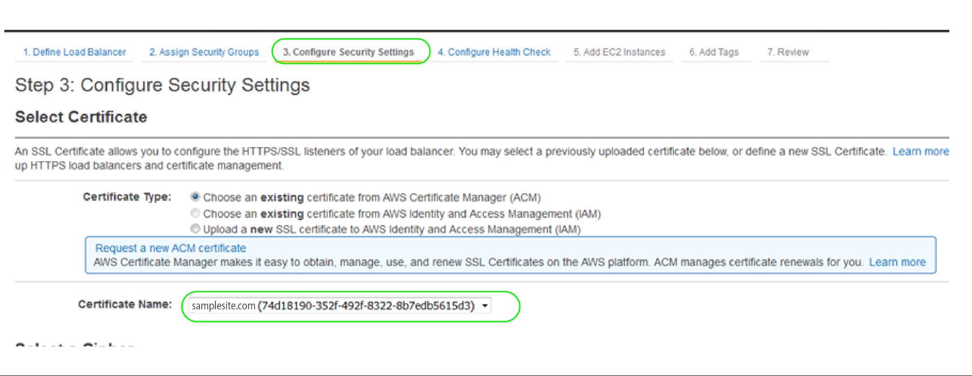 ACM Security Settings
