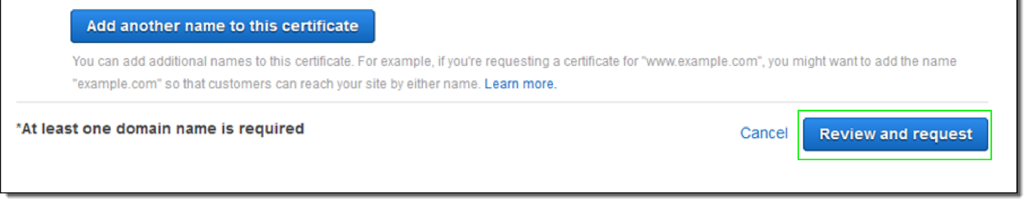 AWS Certificate Manager - Review Domain Name
