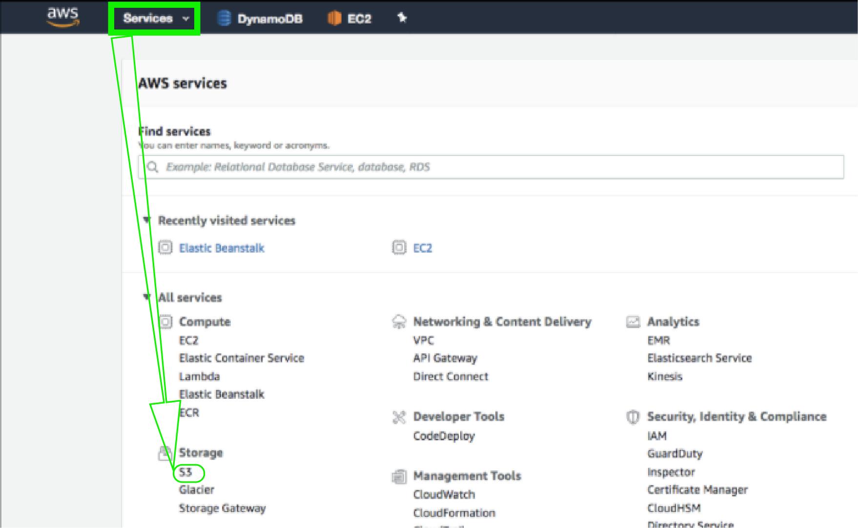 AWS Services Dashboard