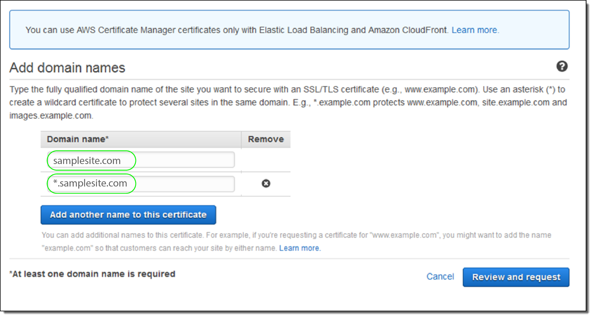AWS Certificate Manager - Add Domain Name