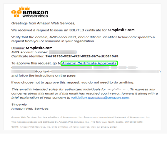 AWS Certificate Manager - Confirmation Mail
