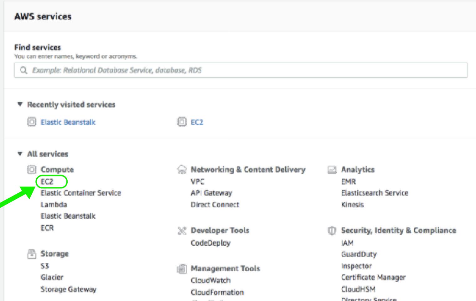 AWS Services Dashboard - EC2