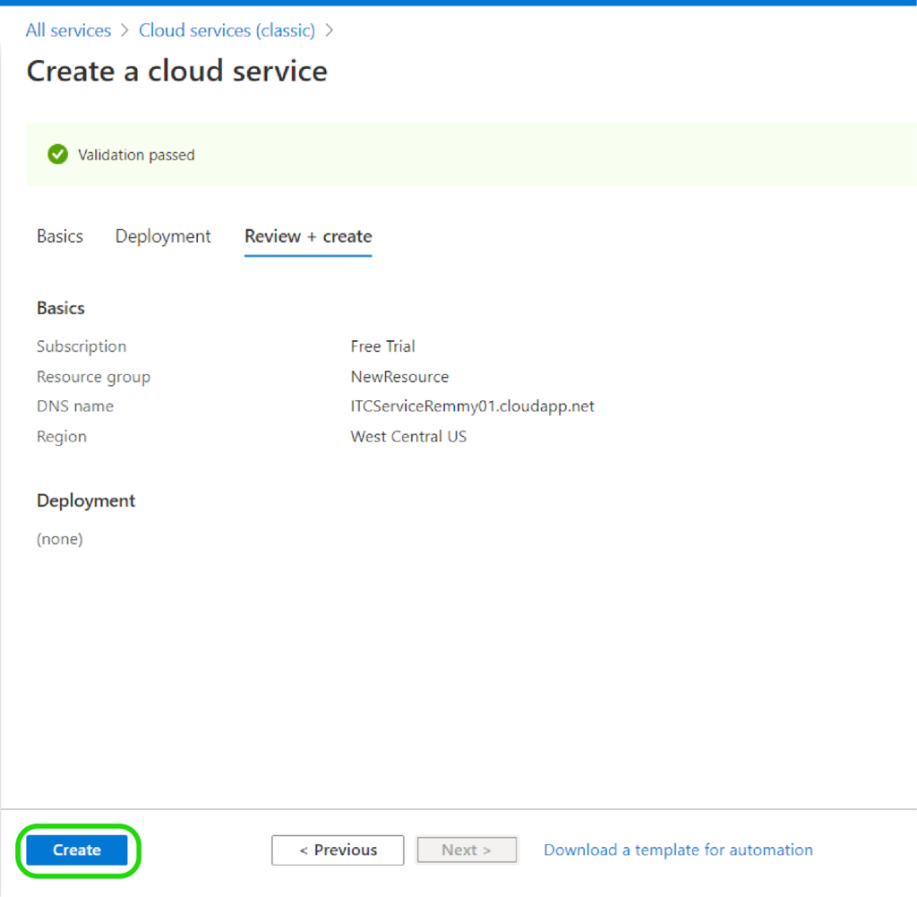 Creating a Cloud Service for Your Application - Review Create