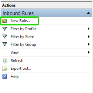 Inbound Rules>> New Rule