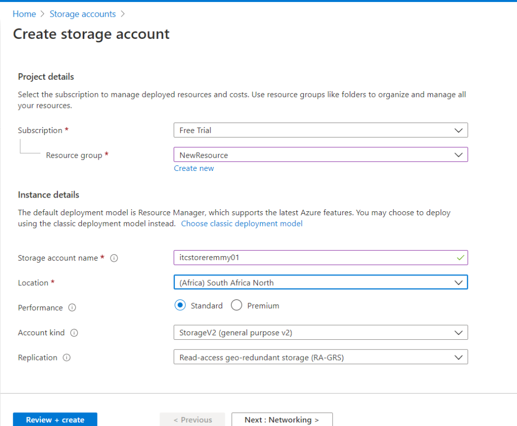 Creating a Storage Account- Create Storage Account page