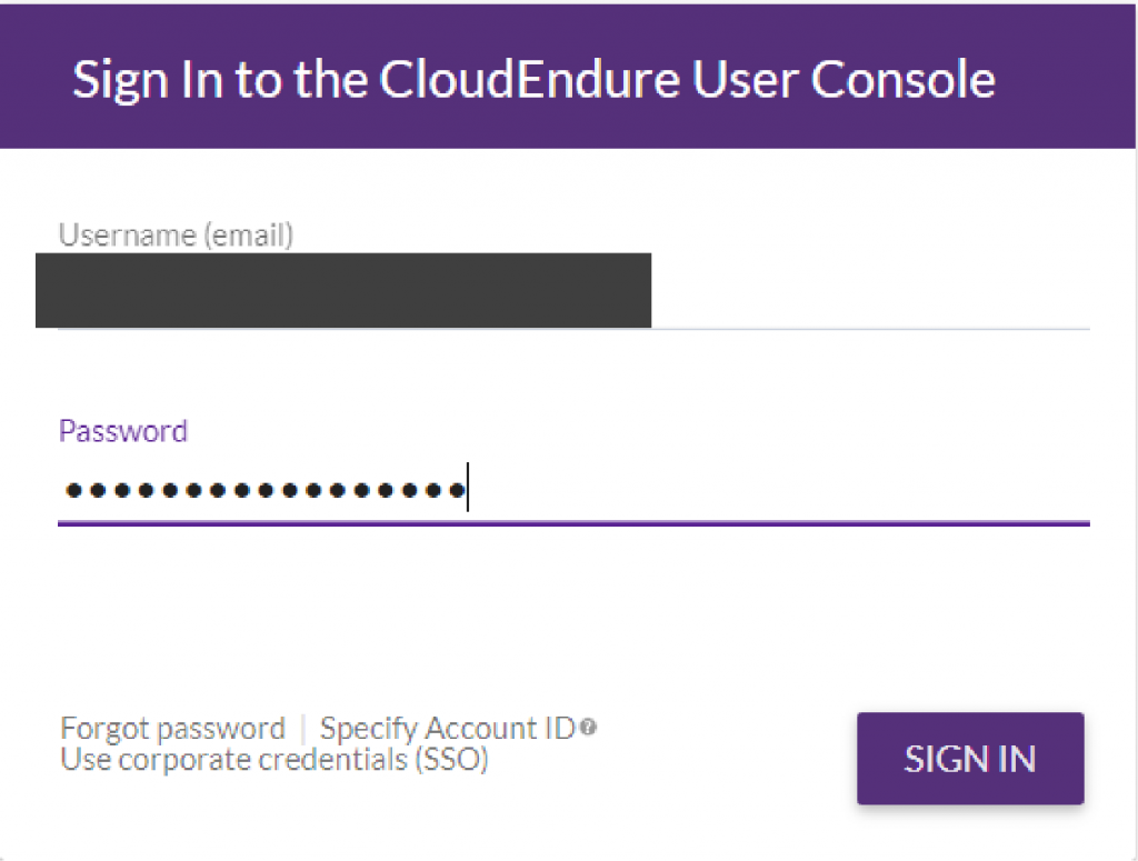 Sign in to the CloudEndure Console