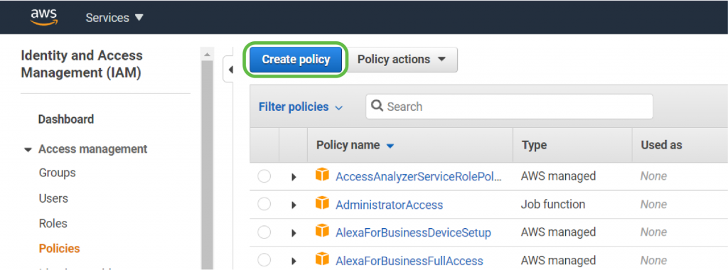 Policies - Create Policy