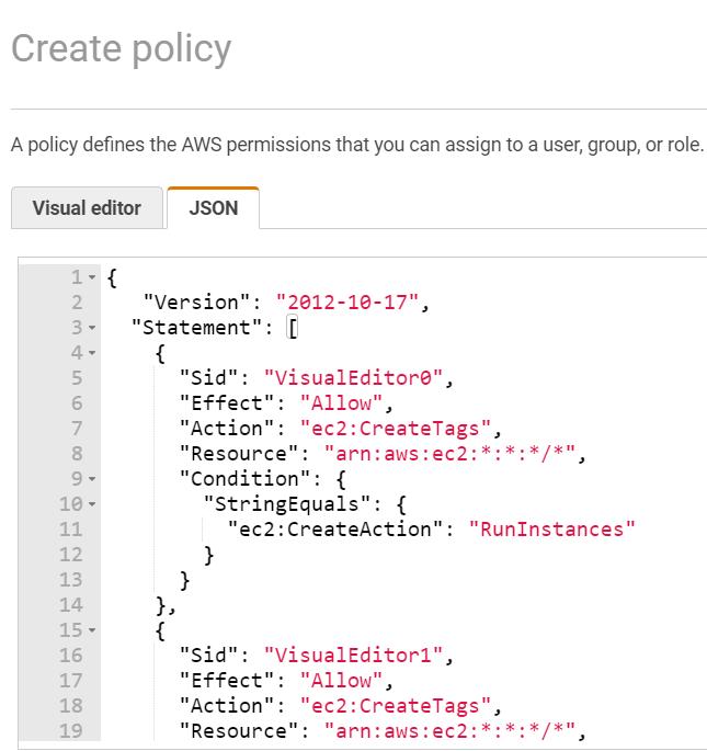 Create Policy - JSON Editor