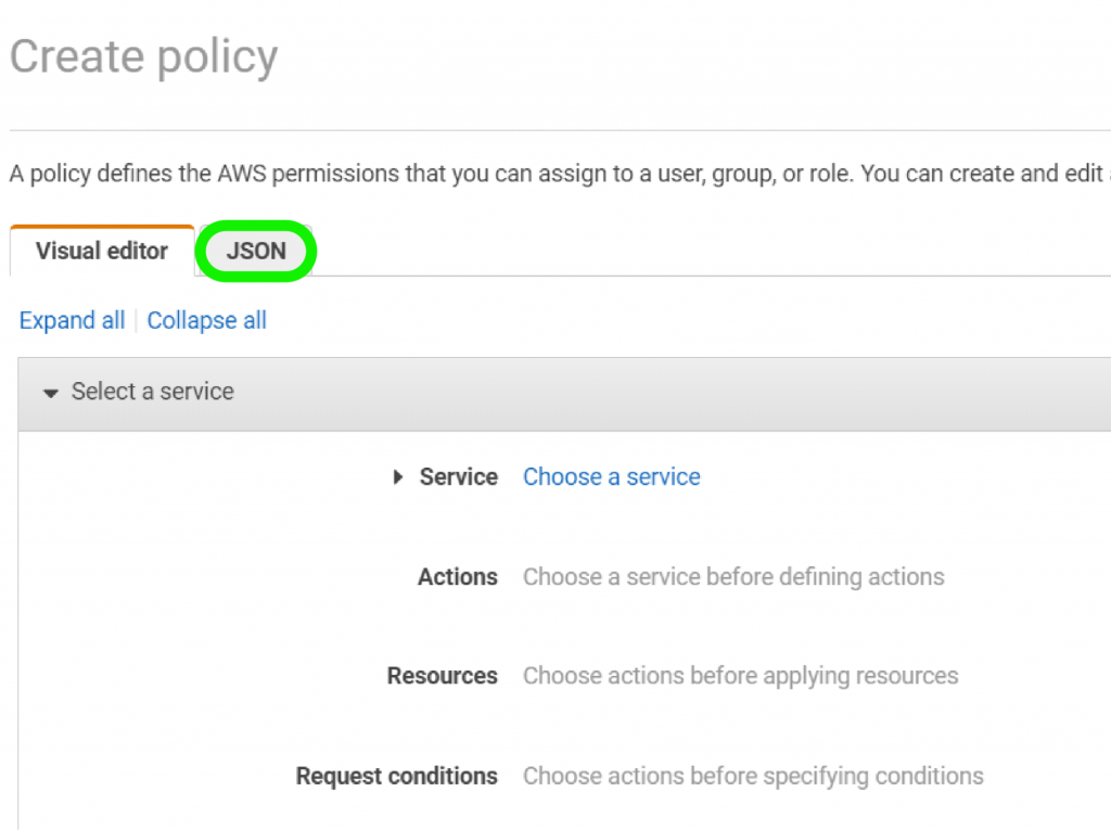 Create Policy - JSON