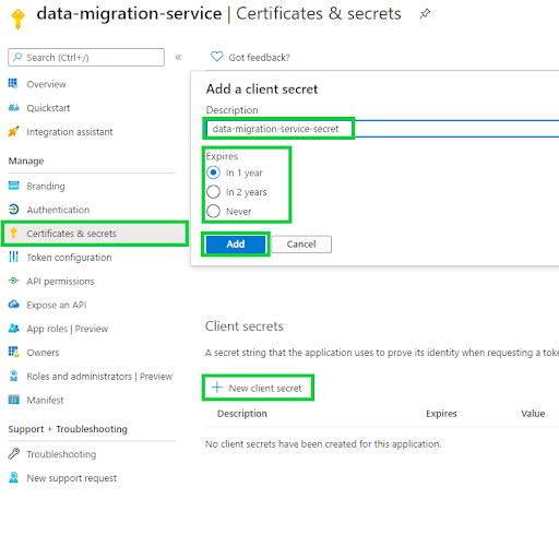 Azure Active Directory - certificates & secrets