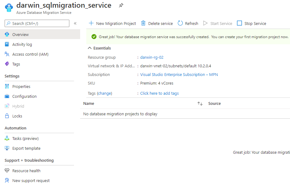 Azure Database Migration Services -created successfully