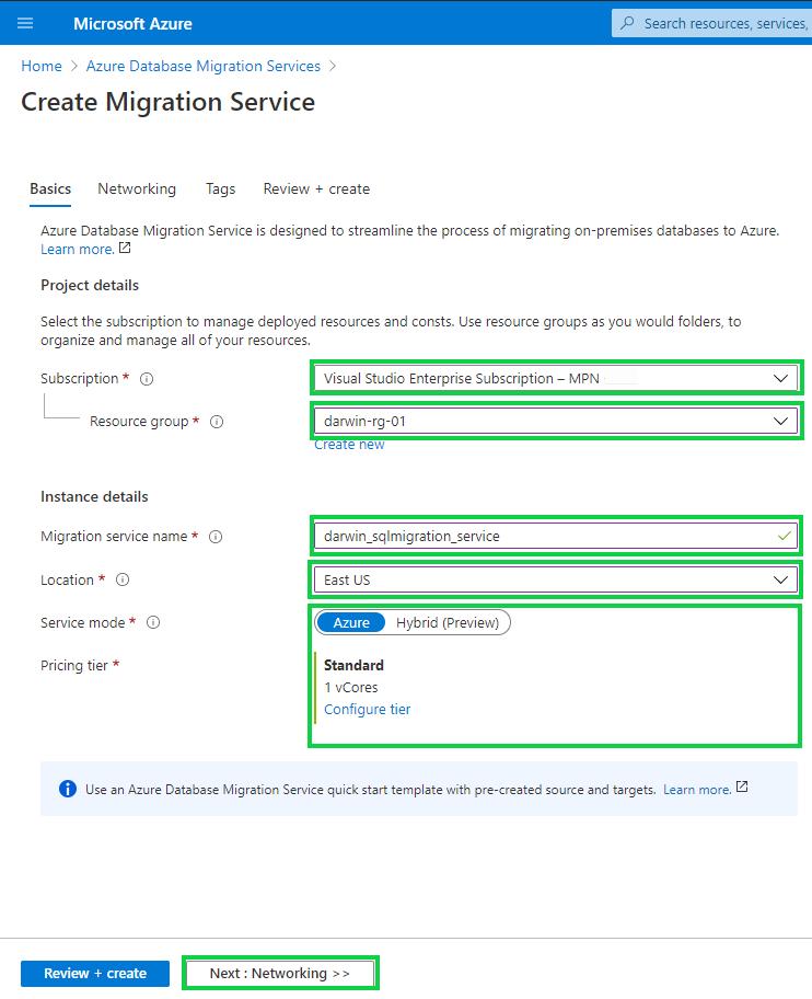 Azure Database Migration Services - hybrid mode