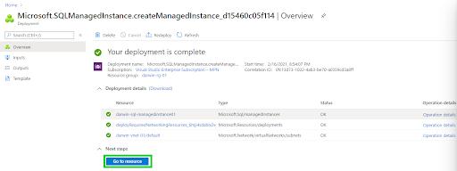 Azure SQL Managed Instance - Go to resource 2