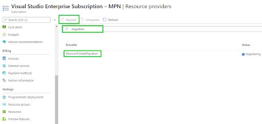 Create a Data Migration Service - Microsoft.DataMigration