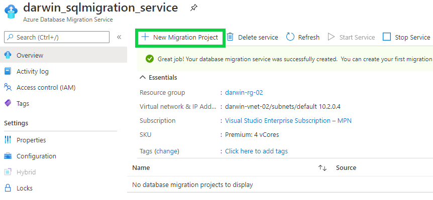 Create a Migration Project - new migration project