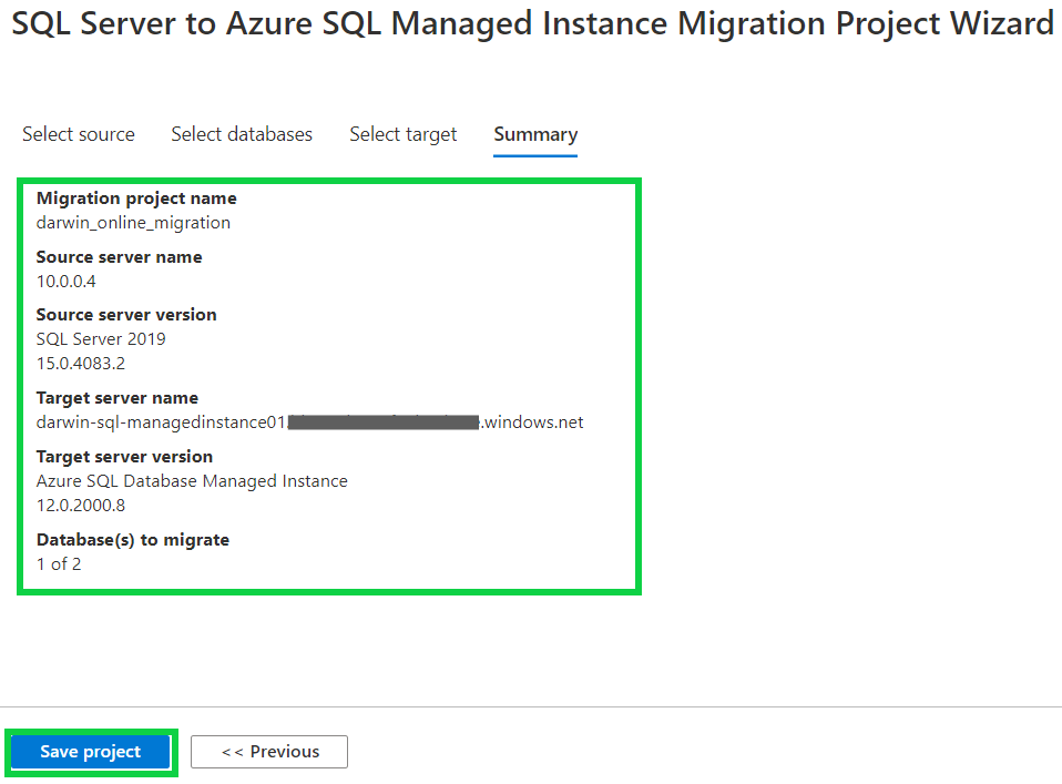 Create a Migration Project - project wizard