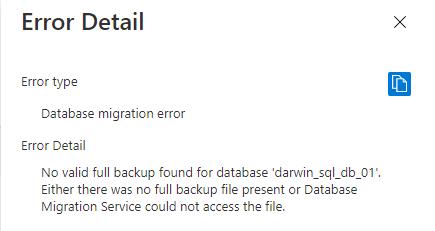 Database migration error or No valid full backup found