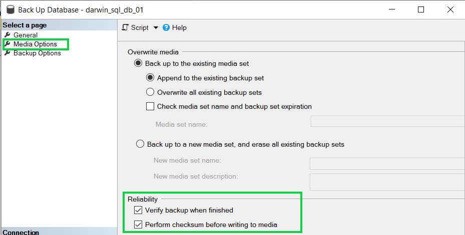 Disabled checksum during the creation of database backups resolution