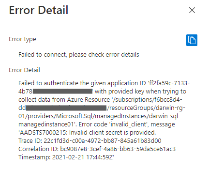 Failed to authenticate the service principal during online database migration