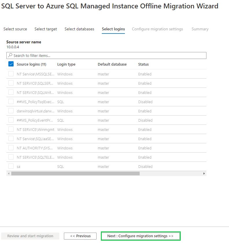 Offline database migration - select login