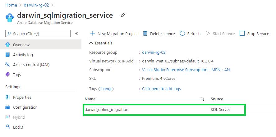 Online database migration activity - Online migration project