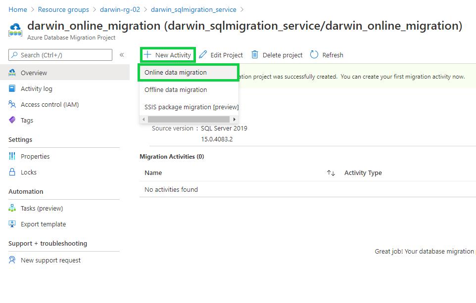 Online database migration activity - new activity