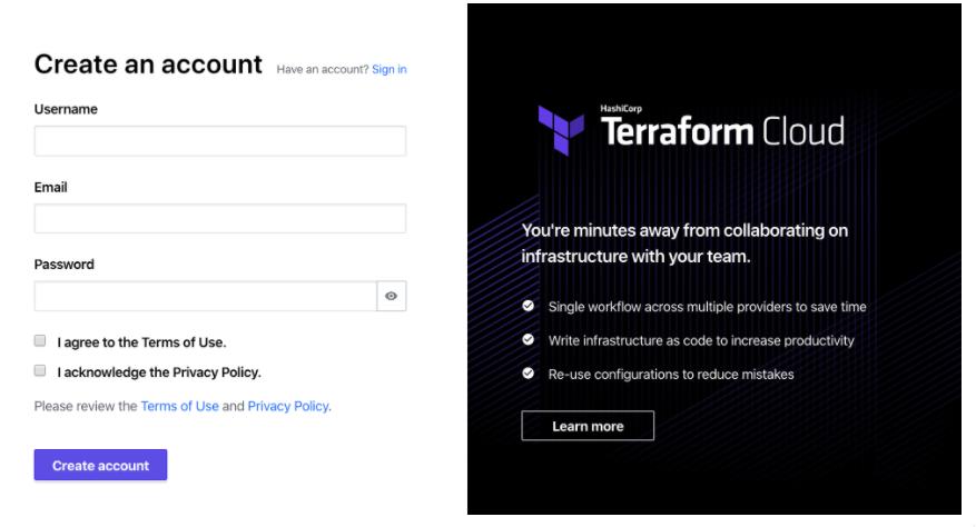 Create an account in Terraform cloud