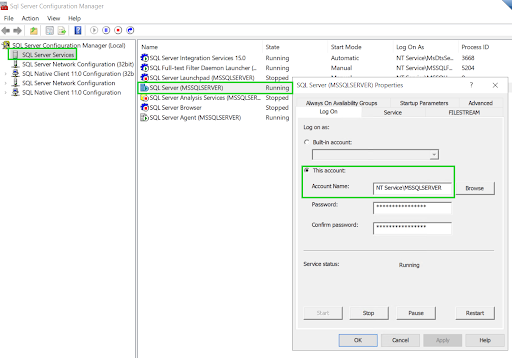 The data migration and on-prem Microsoft SQL Server service account cannot access the shared backups folder 1