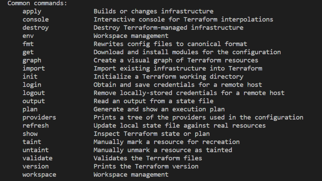 most commonly used Terraform commands
