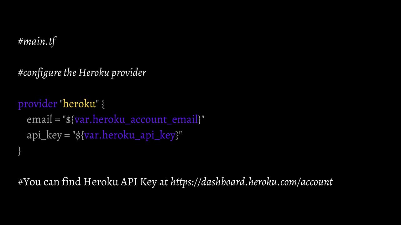 Configure the Heroku provider