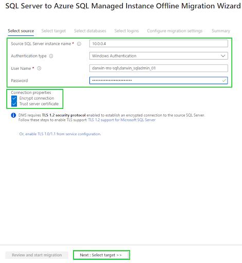 offline database migration - connection properties