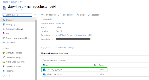 offline database migration - managed instance