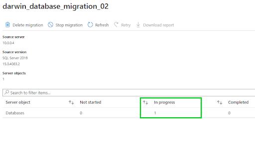 offline database migration - status