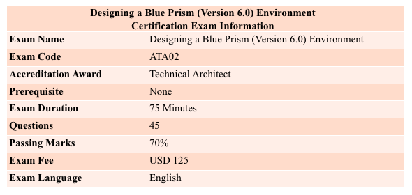 designing a blue prism (Version 6.0) environment certification