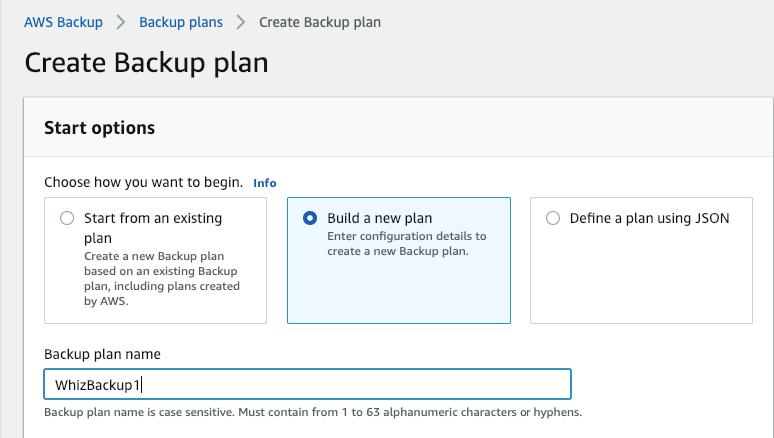 Create Backup Plan