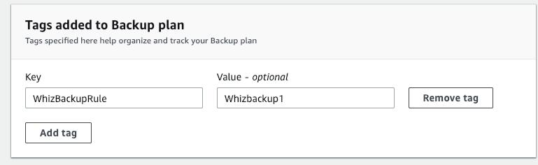Backup plan tags