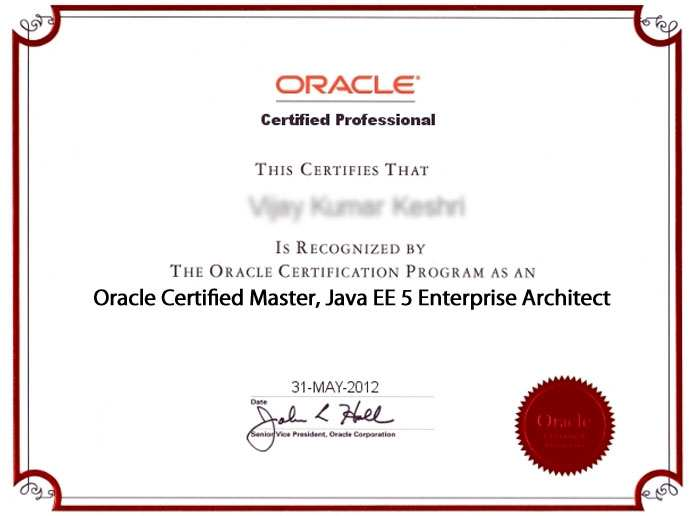 Oracle Certified Master, Java EE 5 Enterprise Architect