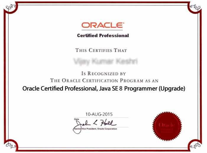 Oracle Certified Professional, Java SE 8 Programmer Upgrade