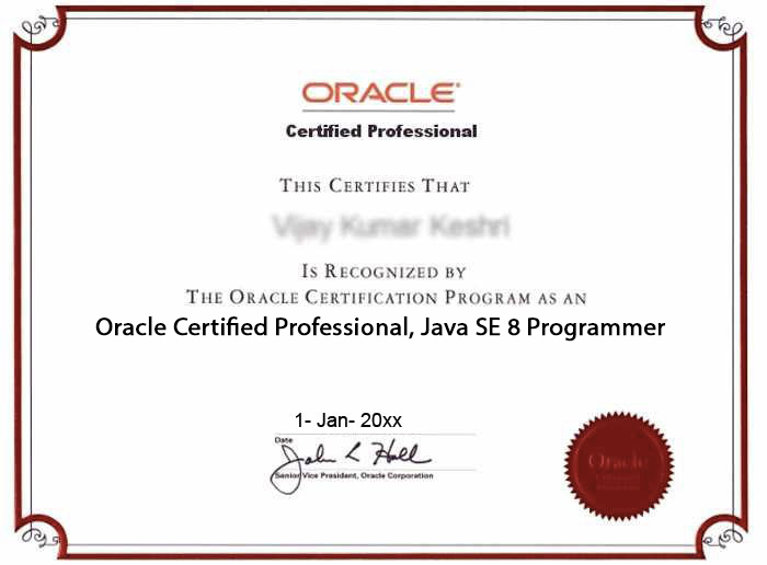 Oracle Certified Professional, Java SE 8 Programmer