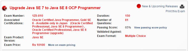 OCPJP 8 Upgrade Exam (1z0-810)