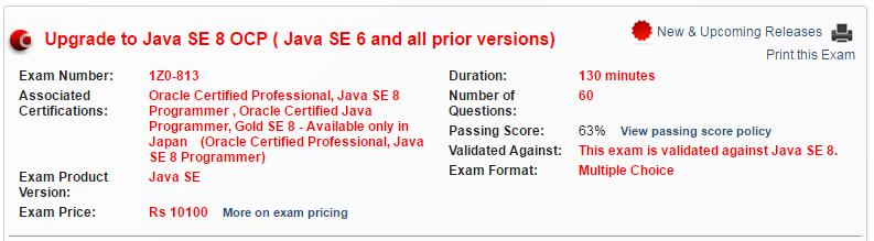 OCPJP 8 Upgrade Exam (1z0-813)