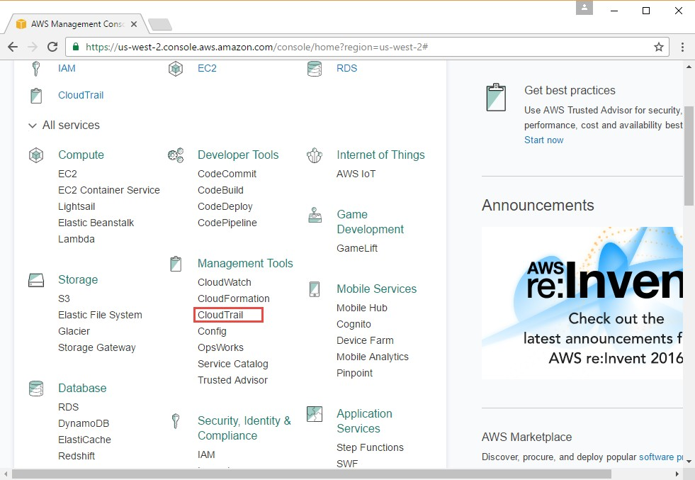 AWS Console and CloudTrail Option