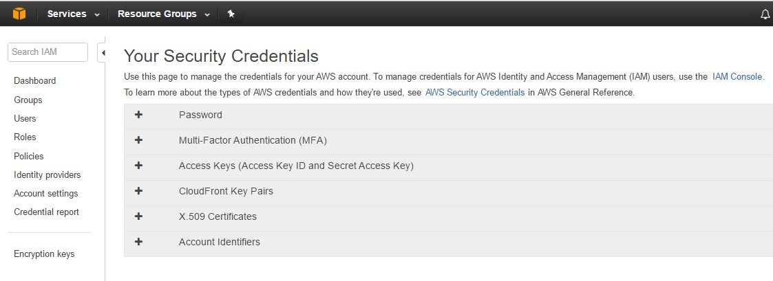 AWS Console and find IAM