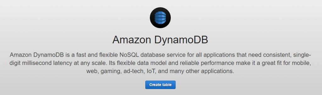 Create table screen in DynamoDB?